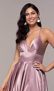Image of long a-line open-back prom dress with v-neckline. Style: FA-S10255 Detail Image 3