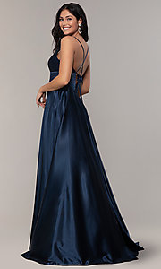 Image of long a-line open-back prom dress with v-neckline. Style: FA-S10255 Detail Image 6