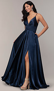 Image of long a-line open-back prom dress with v-neckline. Style: FA-S10255 Detail Image 5
