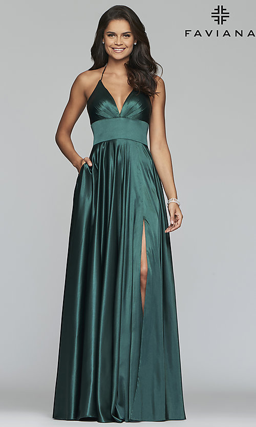 Image of long a-line open-back prom dress with v-neckline. Style: FA-S10255 Front Image