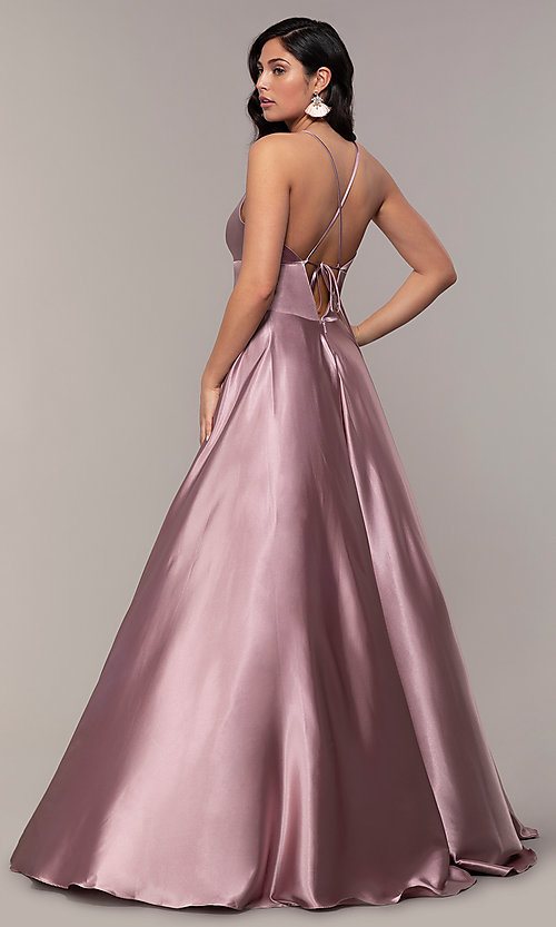 Image of long a-line open-back prom dress with v-neckline. Style: FA-S10255 Detail Image 2