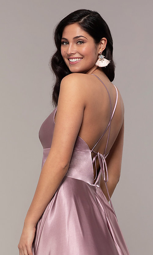 Image of long a-line open-back prom dress with v-neckline. Style: FA-S10255 Detail Image 4