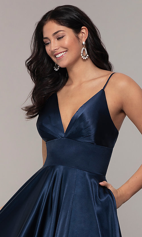 Image of long a-line open-back prom dress with v-neckline. Style: FA-S10255 Detail Image 7