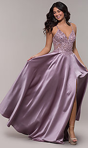Image of satin a-line corset prom dress with sheer bodice. Style: FA-S10253 Front Image