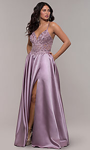 Image of satin a-line corset prom dress with sheer bodice. Style: FA-S10253 Detail Image 3