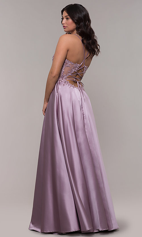 Image of satin a-line corset prom dress with sheer bodice. Style: FA-S10253 Back Image