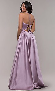 Image of long Faviana satin a-line prom dress. Style: FA-S10252 Back Image