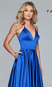 Image of long Faviana satin a-line prom dress. Style: FA-S10252 Detail Image 6