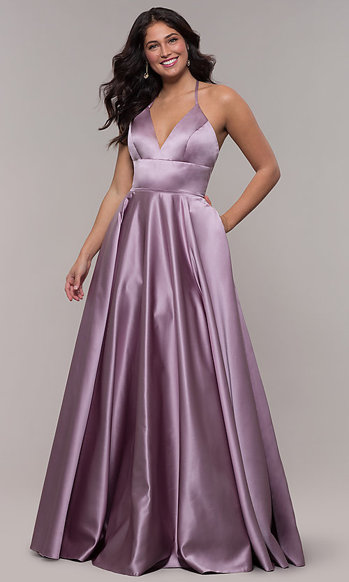 Image of long Faviana satin a-line prom dress. Style: FA-S10252 Detail Image 3