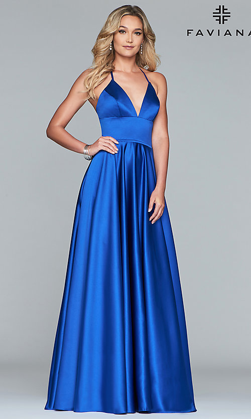 Image of long Faviana satin a-line prom dress. Style: FA-S10252 Detail Image 4