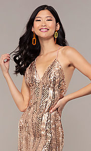 Image of rose gold sequin Faviana long formal prom dress. Style: FA-ES10112 Detail Image 1