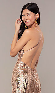 Image of rose gold sequin Faviana long formal prom dress. Style: FA-ES10112 Detail Image 2