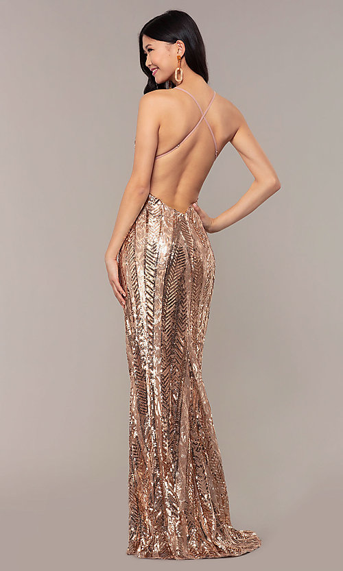 Image of rose gold sequin Faviana long formal prom dress. Style: FA-ES10112 Back Image