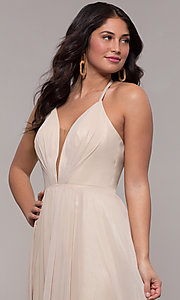 Image of long glitter v-neck prom dress with lace-up back. Style: FA-10264 Detail Image 6