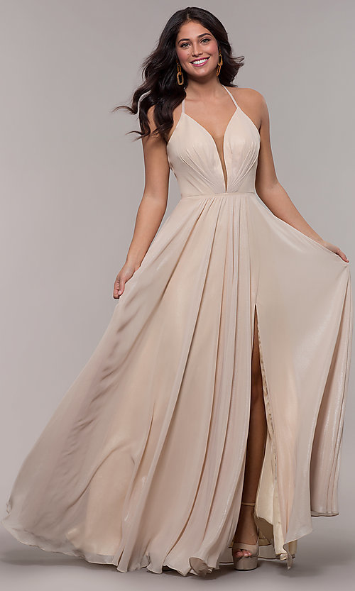 Image of long glitter v-neck prom dress with lace-up back. Style: FA-10264 Detail Image 4