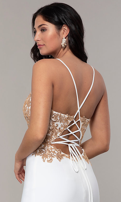 Image of Faviana long ivory prom dress with rose gold beads. Style: FA-S10269 Detail Image 2