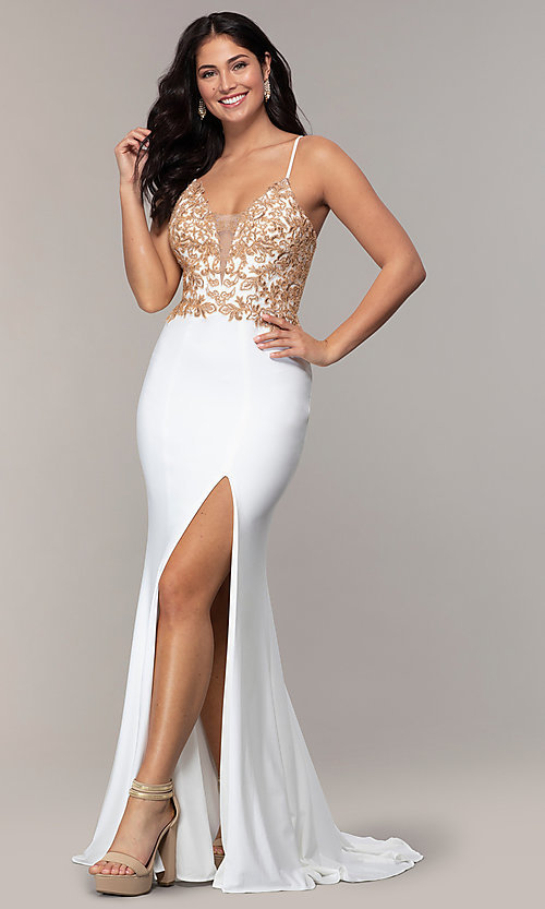 Image of Faviana long ivory prom dress with rose gold beads. Style: FA-S10269 Front Image