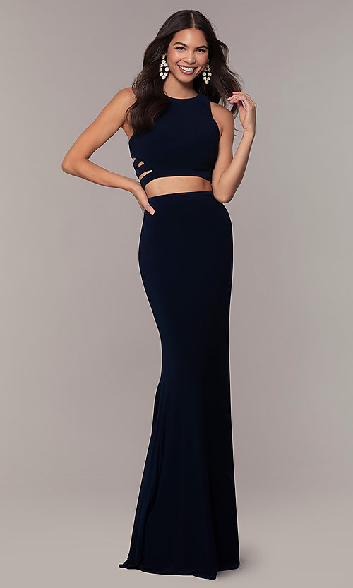 Image of long two-piece blue prom dress with cut outs. Style: FA-10206 Front Image