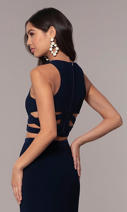 Image of long two-piece blue prom dress with cut outs. Style: FA-10206 Detail Image 2