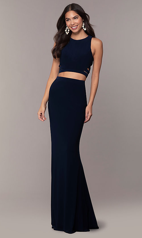 Image of long two-piece blue prom dress with cut outs. Style: FA-10206 Detail Image 3