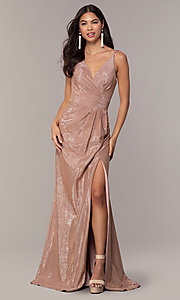 Image of long metallic designer prom dress by Faviana. Style: FA-10257 Front Image
