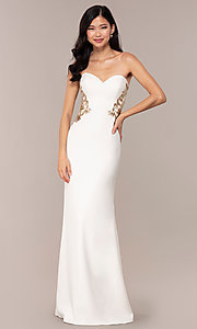 Image of strapless sweetheart ivory white long prom dress. Style: FA-S10304 Front Image