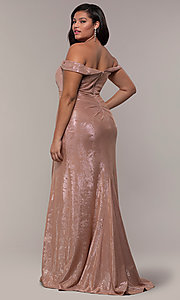 Image of metallic plus-size prom dress with ruched bodice. Style: FA-9457 Detail Image 4