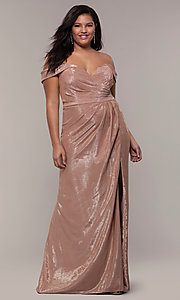 Image of metallic plus-size prom dress with ruched bodice. Style: FA-9457 Detail Image 5