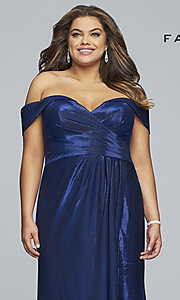 Image of metallic plus-size prom dress with ruched bodice. Style: FA-9457 Detail Image 1