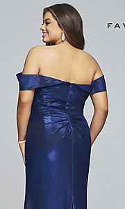 Image of metallic plus-size prom dress with ruched bodice. Style: FA-9457 Detail Image 2