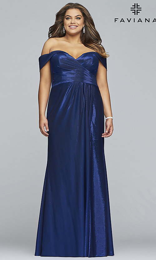 Image of metallic plus-size prom dress with ruched bodice. Style: FA-9457 Front Image