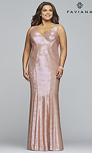 Image of Faviana plus metallic rose gold long prom dress. Style: FA-9453 Front Image