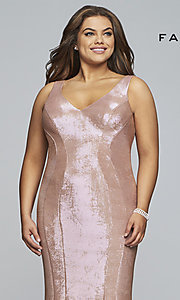 Image of Faviana plus metallic rose gold long prom dress. Style: FA-9453 Detail Image 1