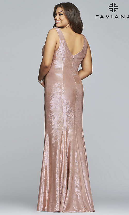 Image of Faviana plus metallic rose gold long prom dress. Style: FA-9453 Back Image