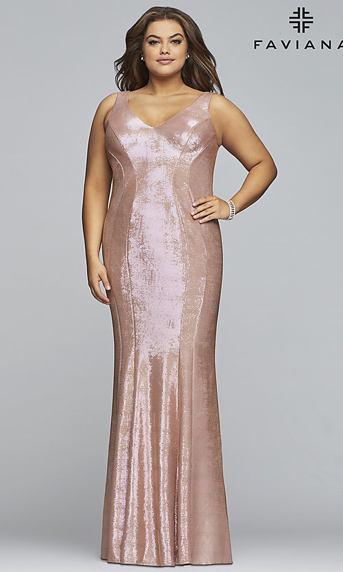 Image of Faviana plus metallic rose gold long prom dress. Style: FA-9453 Detail Image 3