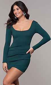 Image of short holiday party scoop-neck long-sleeve dress.  Style: BLU-BD9400 Front Image