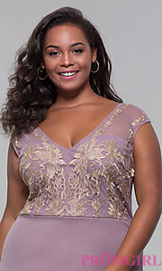 Image of short plus-size embroidered-bodice party dress. Style: SOI-PS40041 Detail Image 1