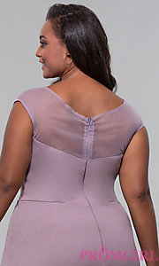 Image of short plus-size embroidered-bodice party dress. Style: SOI-PS40041 Detail Image 2