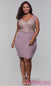 Image of short plus-size embroidered-bodice party dress. Style: SOI-PS40041 Detail Image 3
