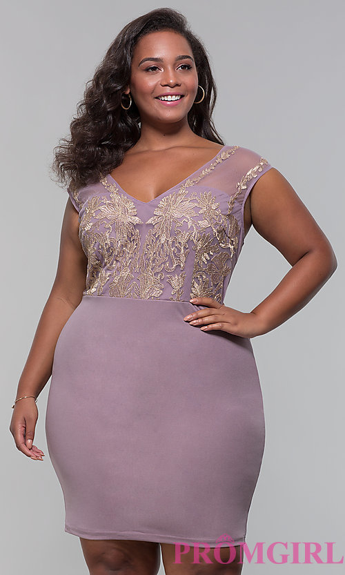 Image of short plus-size embroidered-bodice party dress. Style: SOI-PS40041 Front Image