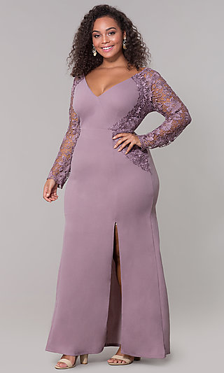 Long-Sleeve Plus-Size V-Neck Prom Dress