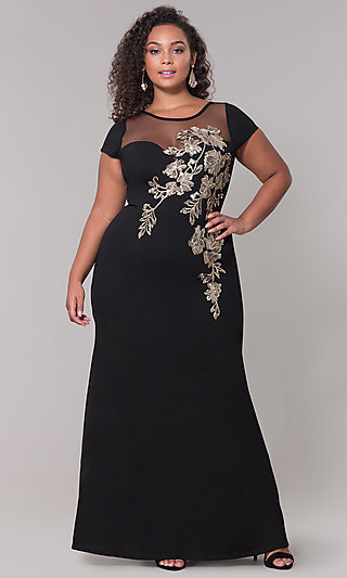 Long Plus-Size Prom Dress with Sequin Applique