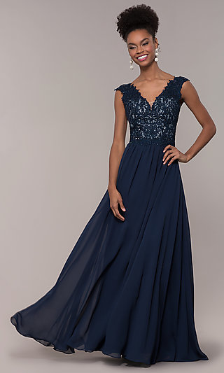 Long V-Neck Embroidered-Lace-Applique Prom Dress