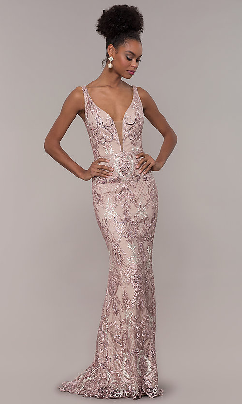 Image of long rose pink sequin-embroidered v-neck prom dress. Style: NC-2216 Detail Image 3