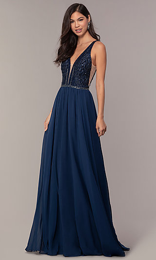 Long Chiffon Prom Dress with V-Neck Glitter Bodice