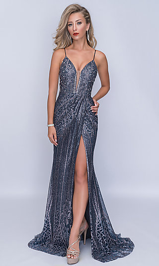 Long Sleeveless Beaded Prom Dress with a Train