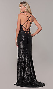 Image of Dave and Johnny sequin long prom dress. Style: DJ-A7574 Detail Image 4
