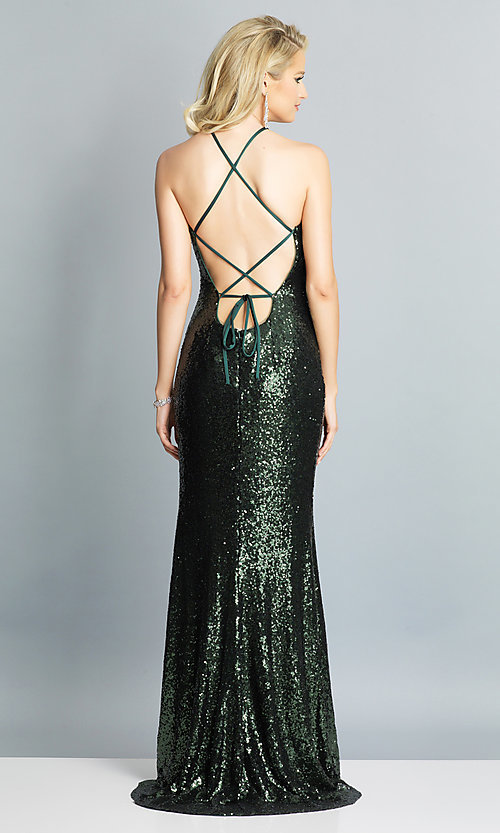 Image of Dave and Johnny sequin long prom dress. Style: DJ-A7574 Detail Image 6