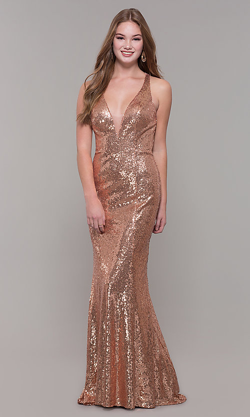 Image of long v-neck sequin Dave and Johnny Prom Dress. Style: DJ-A7832 Front Image