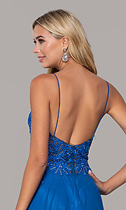 Image of long v-neck prom dress by Dave and Johnny. Style: DJ-A7248 Detail Image 4